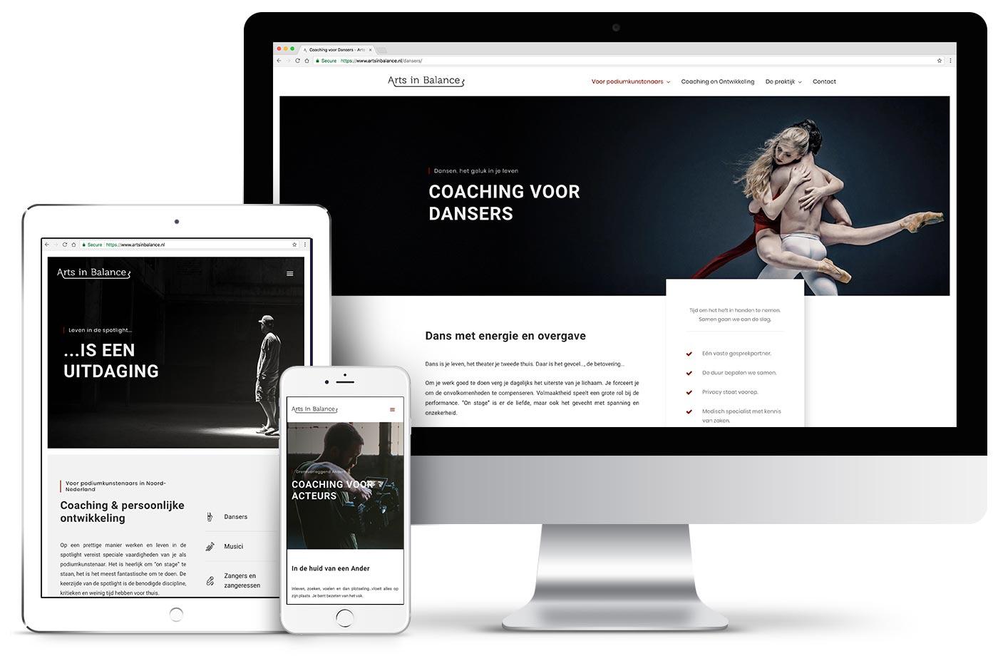 Professioneel webdesign Groningen portfolio - website van Arts in Balance
