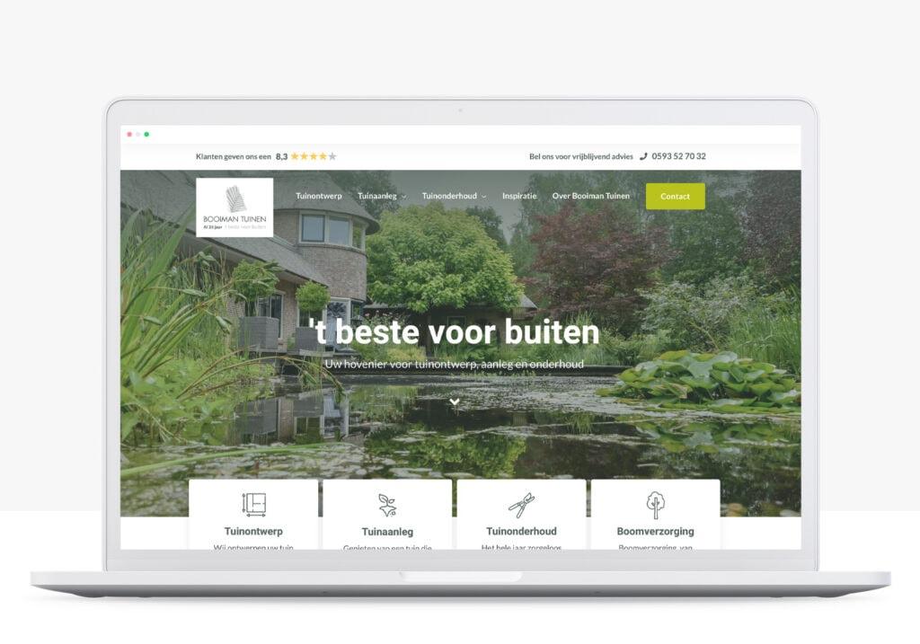 rots in branding portfolio booiman tuinen website ontwikkeling