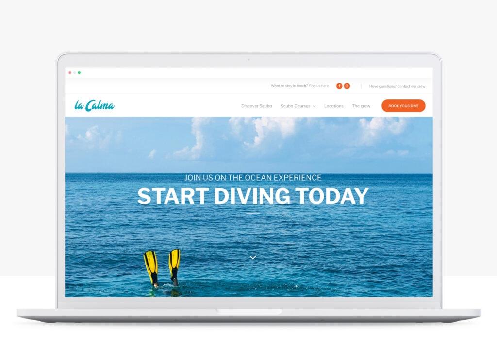 rots in branding portfolio la calma diving website laten maken homepage