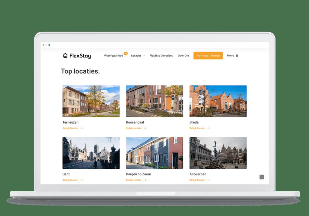 Rots in Branding Portfolio website ontwikkeling FlexStay Locatieoverzicht